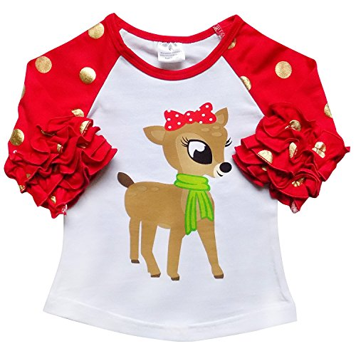 So Sydney New Toddler & Girl Fall & Winter Holiday Sparkle Ruffle Raglan T-Shirt (S (3T), Clarice Reindeer) -
