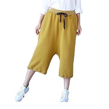 6a7cb442849 maydaiyar Plus Size Capri Ladies Pants Women Loose Wide Leg Trousers (Yellow
