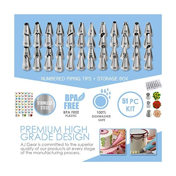 210 piece cake decorating supplies kit | aluminium rotating turntable stand, frosting & piping tips, icing spatula, scraper, smoother, flower nails, cutter, disposable pastry bags, pro baking tools 2 ✅ professional dessert decorating at home - create delectably artistic masterpieces that are stunning to behold and even better to eat! Practice & perfect your special baked creations right from home! ✅heavy duty aluminium alloy cake turnable provides an excellent stability on countertops. ✅ liven up birthdays, parties & holidays - be the go-to expert for making any party a hit! Get creative with cakes, cookies, cupcakes, chocolate and everyone's favorite desserts & party platters. ✅ 51 numbered tips – easy to use ✅ everything you need in one - beginners to seasoned pros: this all-in-one set has everything you need and more. Create floral motifs, swirling patterns, syringe infusions & taste-tantalizing textures!