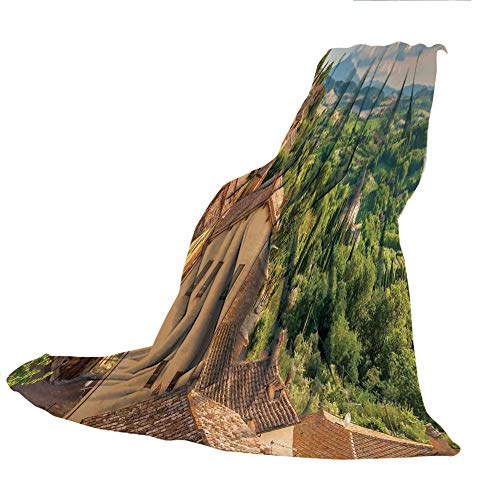 SCOCICI Comfortable Extra-Thick Blanket, Double-Sided Printing,Tuscan,Sunset Rural Landscape Cypresses Forest Hills Greenery Blue Sky Clouds,Ivory Green and Blue,31.50