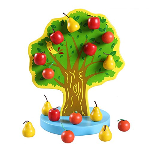 TelPal Wooden Toys Magnetic Apple Tree Montessori Educational Early Preschool Training Toys for Baby, Boys Girls children