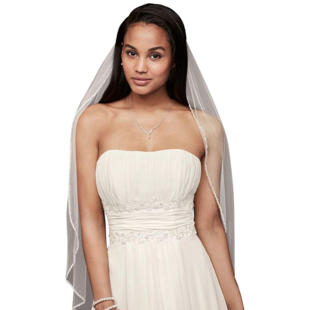 Bridal Elbow Length Veil, 1 Tier with Beaded Edge Style VMP9573, White