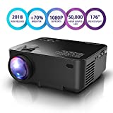 DBPOWER Mini Projector, 70% Brighter HD 1080P LED Video Projector with 176'' Display, 50,000-hour Lifespan, Home Theater Movie Projector Compatible with Amazon Fire TV Stick, HDMI/VGA/AV/USB/TF