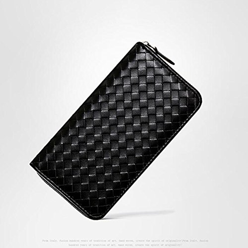 Woven Women Men Black Leatherette Wallet Hand And Phone Honey WALLETS Bag Zipper qtwEXX