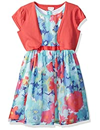 Youngland girls Little Girls Floral Chiffon Special Occasion Dress With Knit Cardigan