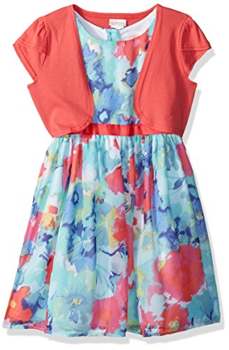 Youngland Little Girls' Floral Chiffon Special Occasion Dress With Knit Cardigan, Coral/Multi, 6X