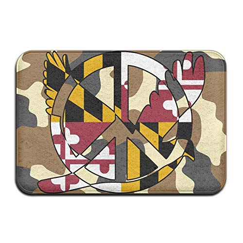 Maryland Flag Peace Sign Symbol Indoor Outdoor Entrance Rug Non Slip Bath Mat Doormat Rugs Home by HONMAt-Non