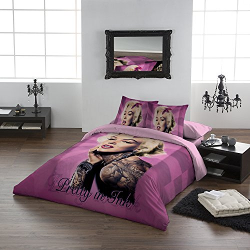 Marilyn Munroe - PRETTY IN PINK - Duvet & Pillowcase Covers Set for Double / Full Twin Bed