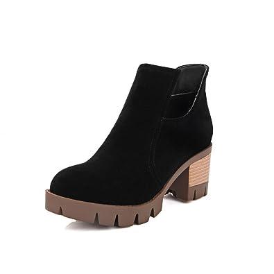 Women's Frosted Zipper Round Closed Toe Kitten-Heels Low-top Boots