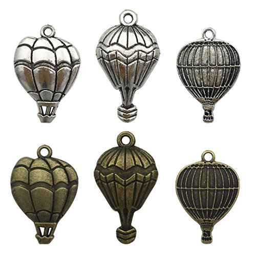 100g Hot Air Balloon Charms Collection - Mixed Parachute Air Travel Plane Metal Pendants for jewelry making DIY Findings (HM9)