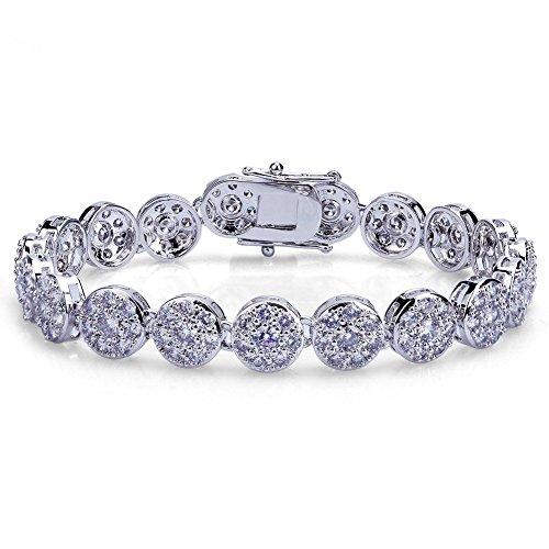 TOPGRILLZ Hip Hop 16K Iced Out CZ Zircon Solitaire Cluster Lab Diamond Tennis Link Bracelet -