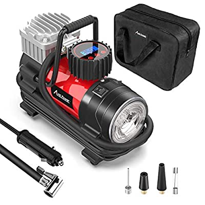 Tire Inflator Air Compressor, 12V DC / 110V AC Dual Power Tire Pump with Inflation and Deflation Modes, Dual Powerful Motors, Digital Pressure Gauge