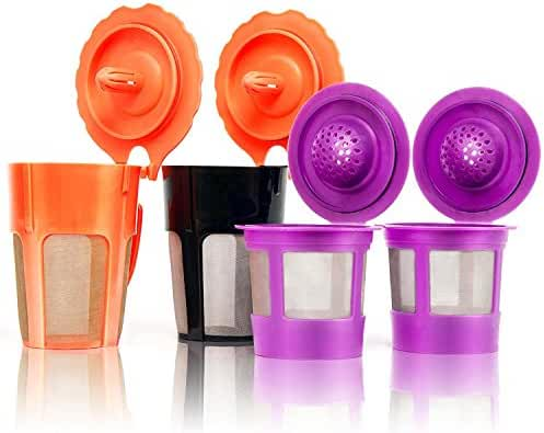 GoodCups 2 Reusable K-Carafe and 2 Single Refillable K-Cup Coffee Filters Accessories for Keurig 2.0