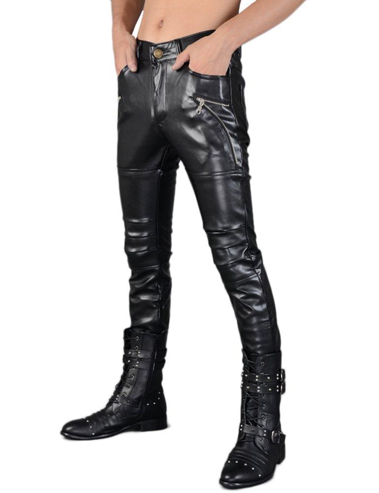 Idopy Men`s Rock Punk Hip Hop Faux Leather Motocycle Pants (30W x 40L, 149# Black) by Idopy (Image #2)