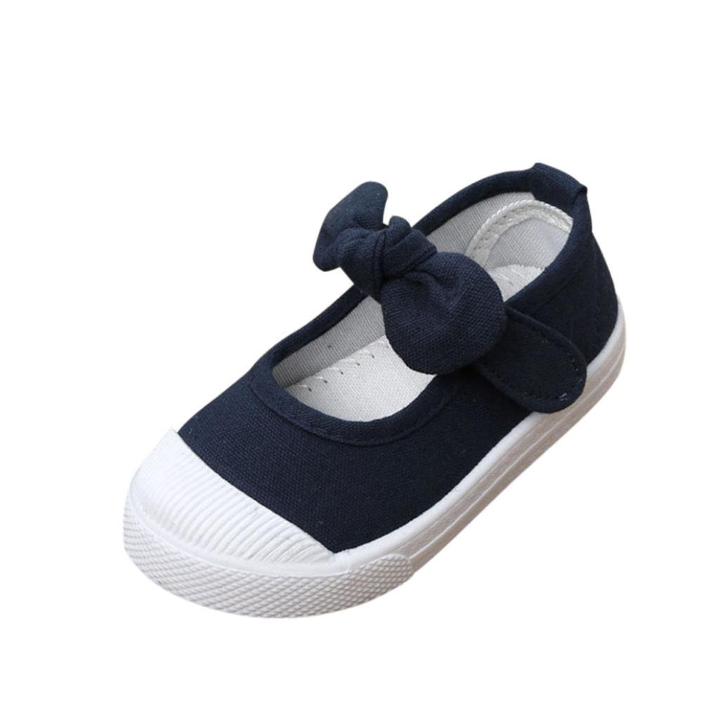 HUHU833 Toddler Kids Girl Fashion Butterfly Knot Canvas Princess Shoes Crib Shoes