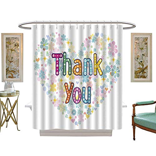 Iuvolux Shower Curtain Thank You Card Design. Customize Waterproof W36 x H84 Inch ()