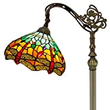 Tiffany Style Reading Floor Lamp Green Stained Glass with Crystal Bead Lampshade in 64 Inch Tall for Living Room
