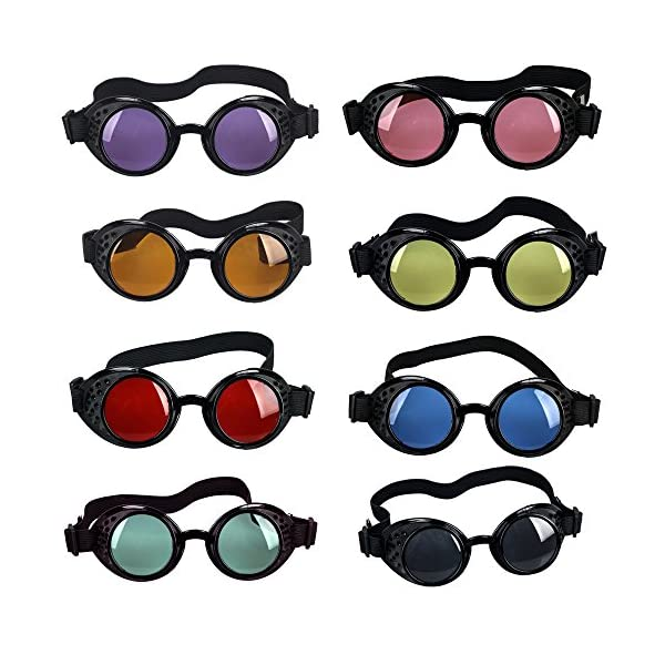 OMG_Shop Vintage Victorian Steampunk Welding Cyber Punk Gothic Cosplay HS Goggles Glass Black Frame 4
