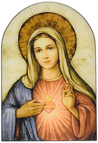 Sacred Traditions The Immaculate Heart of Mary Icon 7 Inch Wood Arched Plaque