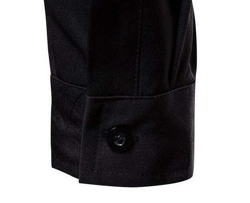 JYZJ Mens Color Block Plus Size Long Sleeve Formal Button up Dress Shirts
