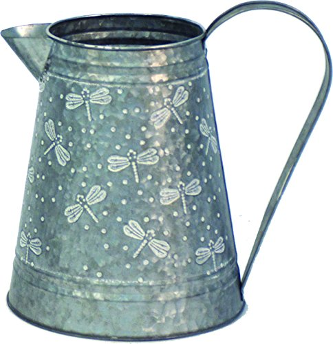- Harbor Gardens H16A1193 Galvanized Steel Milk Pitcher with Dragonflies