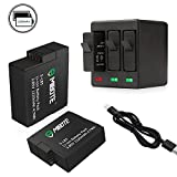 2 Pack Replacement Rechargeable Battery and 3-Channel Triple Charger for GoPro Hero 5 Black, Hero 6 Black, Hero 7 Black, Hero (2018) (Fully Compatible with Original Camera) by Mibote