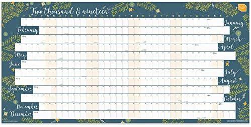 Calendrier Planning 2019.Boxclever Press Planning Mural 2019 Planning Annuel 2019 Format Paysage Lineaire En Anglais Calendrier 2019 Pour La Maison Ou Le Bureau De