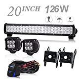 UNI FILTER 20Inch LED Light Bar 126W Off Road Driving Lights w/2Pcs LED Work Light Fog Lamp With Rocker Switch & Wiring Harness Compatible With Polaris RZR Toyota Tacoma GMC UTV Truck ATV Jeep