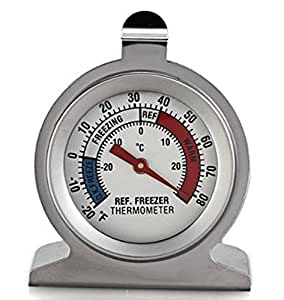 Cooking Thermometers Refrigerator Freezer Thermometer Fridge DIAL Type Stainless Steel Hang Stand NEW