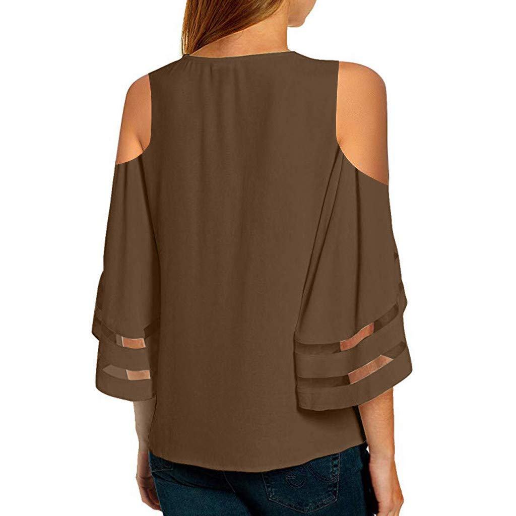 chengzhijianzhu Womens Summer Top V Neck Mesh Panel Shirt 3//4 Bell Sleeve Loose Pullover Blouse Lace Patch Top Tee