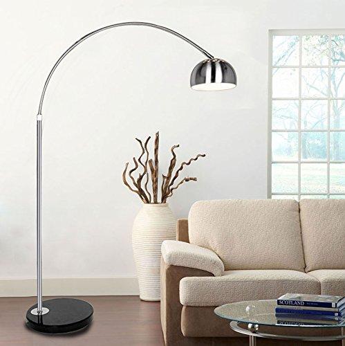 Minifair silver chrome arco style arc floor lamp with marble base minifair silver chrome arco style arc floor lamp with marble base and lampshades light aloadofball Choice Image