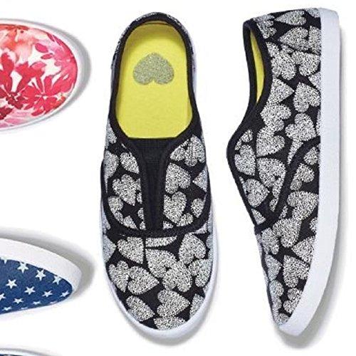 Avon Vrouwen Gek Voor Hartafdrukken Slip Op Sneakers, Zwart En Wit