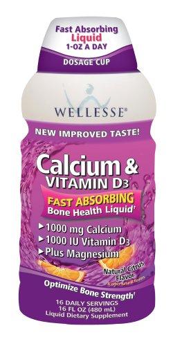 Calcium et vitamine D3 Wellesse, 1000mg, saveur d'agrumes naturel, de 16 onces Bouteilles (Pack de 2)