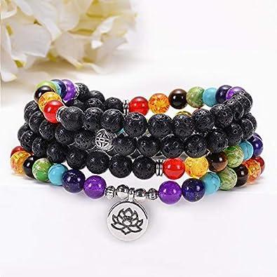 nobrand 7 Chakras Yoga Meditación Curación Equilibrio Cuentas de Piedra Redondas Pulsera elástica con el árbol de la Vida Lotus Charm