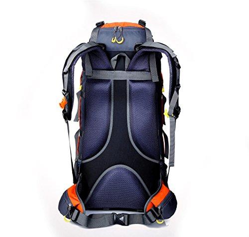 80L Liter Multifunktions-Bergsteigen Tasche Outdoor Sport Rucksack Nylon Reise Doppel Umhängetasche,Orange Red1