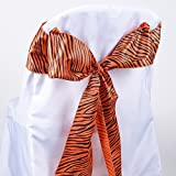 BBCrafts Animal Print Satin Chair Sash - (Pack of 10 Pieces - 6 inches x 106 inches) (Orange)