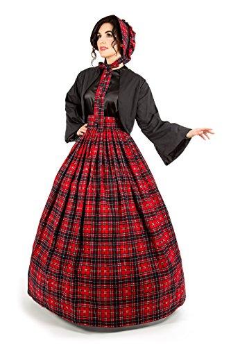 Scottish Tartan Skirt and Jacket Set (2XL/3XL, Red)