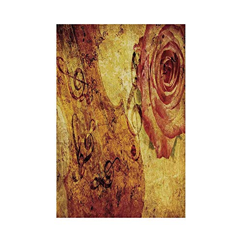 Polyester Garden Flag Outdoor Flag House Flag Banner,Roses Decorations,Vintage Grunge Background with Violin Rose and Music Note Retro Toned Artful Print,Cream Orange,for Wedding Anniversary Home Outd