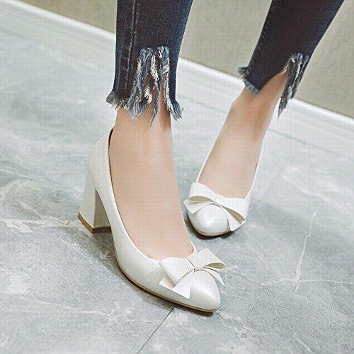 Charm Foot Womens Dolce Grosso Tacco Alto Archi Pompe Scarpe Bianche (pu)