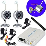 2.4G Wireless 4CH Home Security Surveillance CCTV System+2x Indoor/Outdoor Waterproof Video Camera 24LEDs IR Night Vision