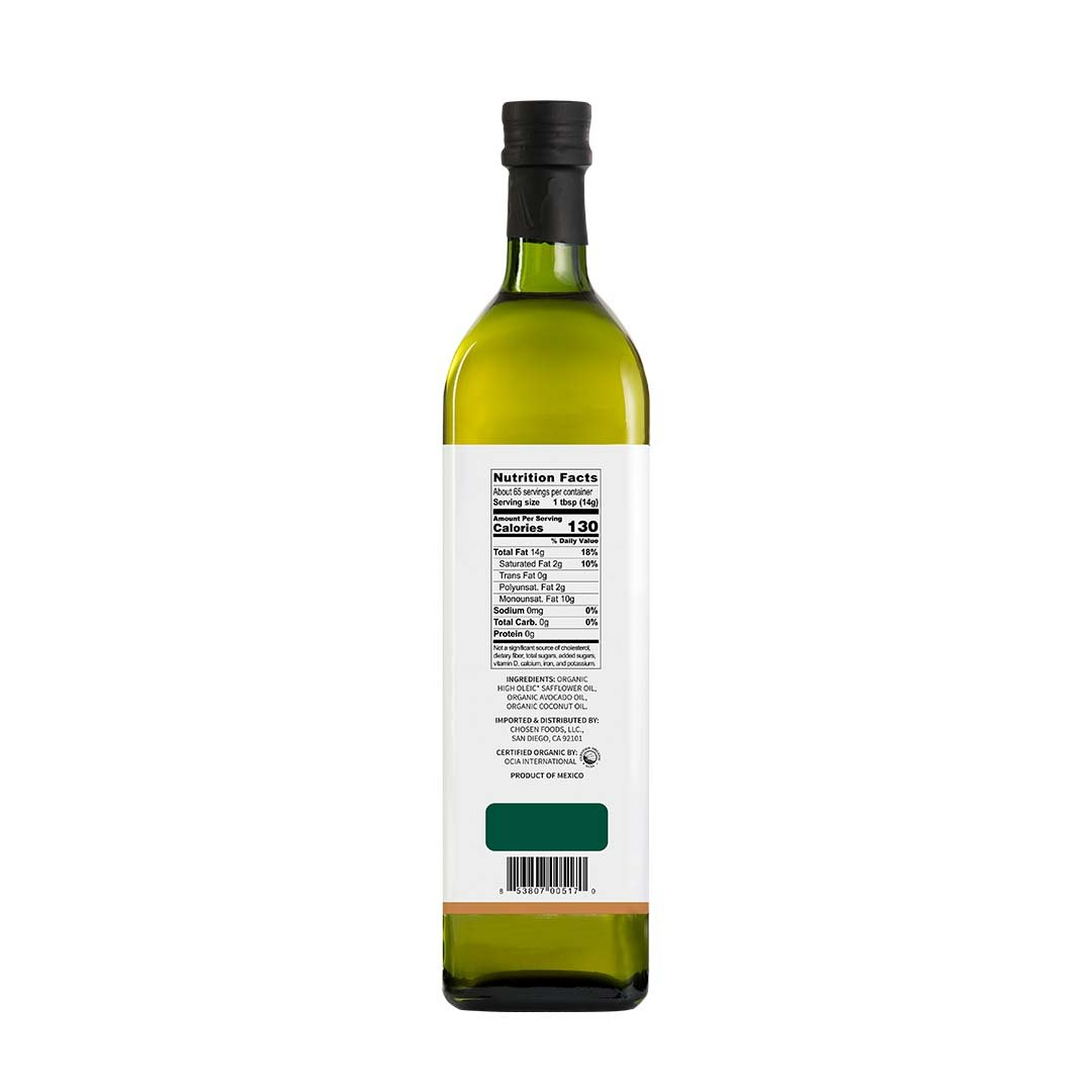 Chosen Foods Organic Chosen Blend Oil 1 L, Non-GMO for High-Heat Cooking, Baking, Frying, 490° F Smoke Point by Chosen Foods (Image #2)