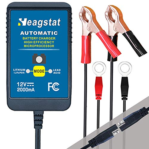 Heagstat 12V 2000mA Lead Acid/Lithium(LiFePO4) Automatic Trickle Battery Charger Smart Battery Maintainer for Auto Car Motorcycle Lawn Mower Boat ATV SLA AGM GEL CELL and More Batteries