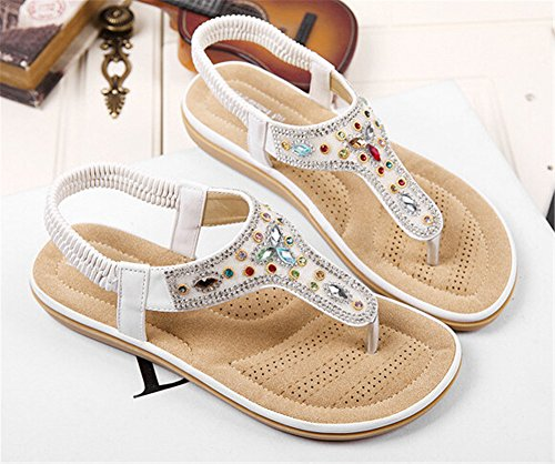 Fortuning's JDS estilo bohemio del verano cómodo moldeada elástico sandalias planas para las mujeres blanco