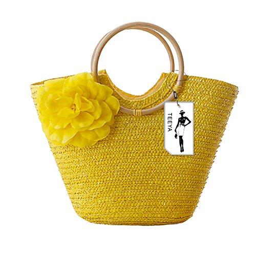 Women's Straw Handbag Flower Woven Summer Beach Messenger Tote Bag Basket Shopper Purse Yellow