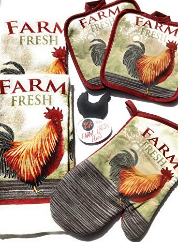 JB Products Shop Country Style Rooster Kitchen Decor Set, 2 Dish Towels, 2 Pot Holders, an Oven Mitt and Rooster Refrigerator Magnet