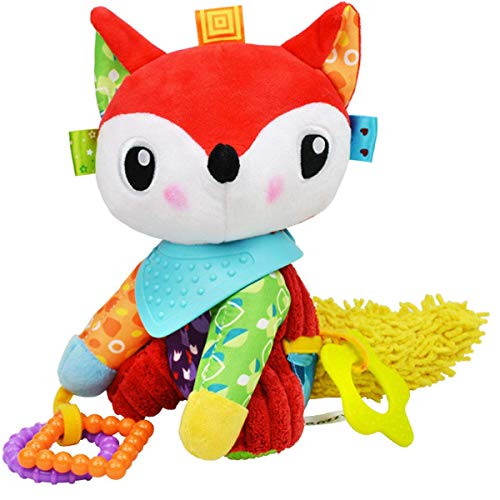 OASMU Baby Toys, Pram Toys, Colorful Fox Infant Stroller Toys Washable Squeaker Car Toys, Kids Hanging Toy for Crib with Teethers