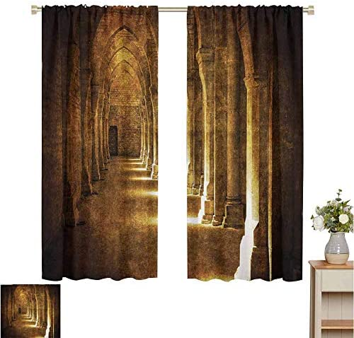 June Gissing Apartment Decor Collection Bedroom partition Curtain Abbaye De Fontenay Archway Hall Vintage Cathedral Church Historical Architecture Curtains for Sliding Glass Door W63 x L45 Brown Gold