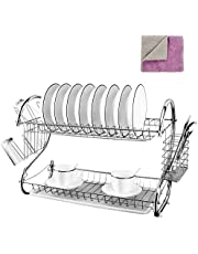 Kitchen 2-Tier Dish Rack Chrome Plated Dish Drying Rack Organizer with Utensil Holder/Drainboard for Counter,White 17 x 10 x 15.6 Inch 1 x Cleaning Cloth