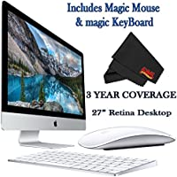 Apple iMac MK482LL/A 27-Inch Retina 5K Display Desktop 3.3GHz 8GB 2TB Fusion Drive + Mac Essentials Lifetime Online Support + Magic Keyboard and Magic Mouse
