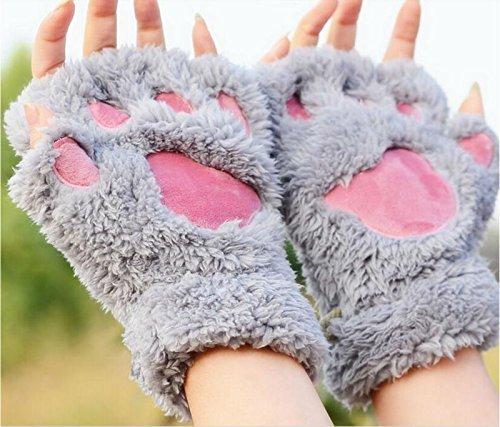 Neue Frauen SüßE Katze Kätzchen Paw Fingerlose Kunstfell Handschuhe kurz (grau) RUNFON